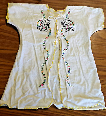 Vtg Neutral Handmade Baby Bed Jacket Embroidered Puppy Dog & Flower Robe Yellow