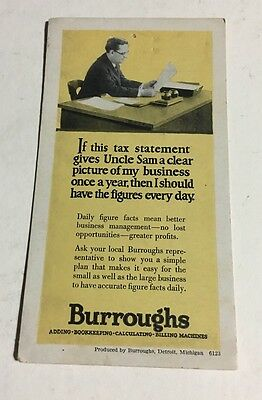 Burroughs Adding Bookkeeping Calculating Tax Vintage Advertising Postcard