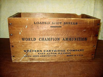 Vintage Western Cartridge Co. Wooden Box Small Arms Ammunition Wood Crate IL USA
