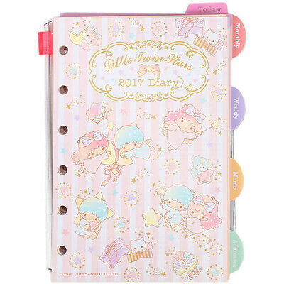Little Twin Stars 2017 Schedule Book Agenda Planner 6-rings refill NWT weekly