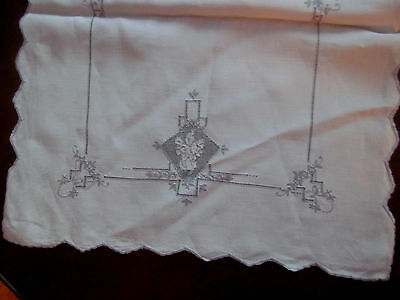 Never Used~Antique Cutwork Drawnwork Runner Placemat Napkin Set~17Pc Madeira