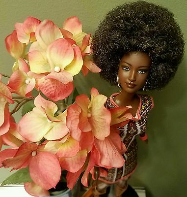 STUNNING OOAK AFRICAN AMERICAN BARBIE DOLL with chic AFRO