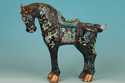 Nice Chinese Old Cloisonne Handmade Carving horse Collect Statue Figure Decor
