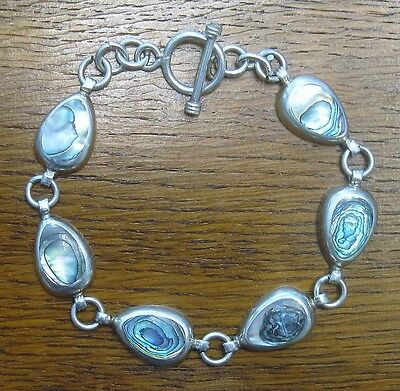 Vintage Mexican Sterling Silver Link Bracelet w/Inlaid Abalone Excellent Cond