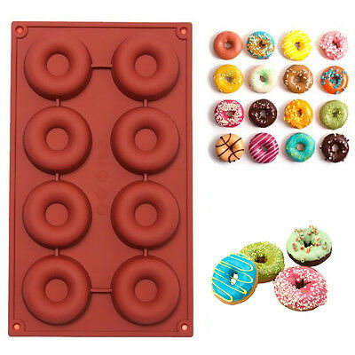 8 Cavity Silicone Donut Muffin Chocolate Cake Candy Cookie Baking Mold Mould New
