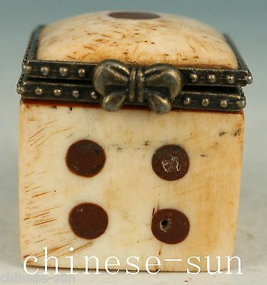 Chinese Old Handmade Painting Dice Box Decoration Not plastic