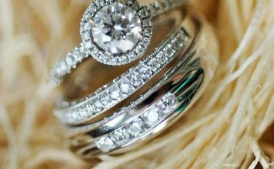 His And Her 14k White Gold Bridal Engagement Ring Matching Wedding Band Trio Set
