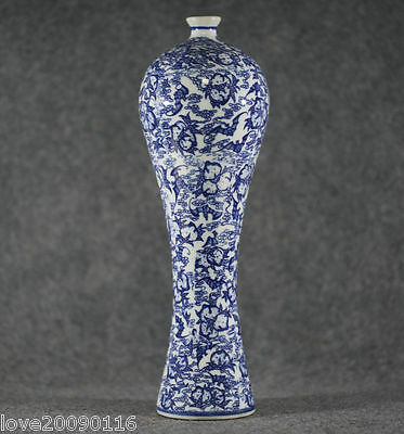 Collectible Decorate Old Handwork Blue and white Porcelain Flower High Vase Rare