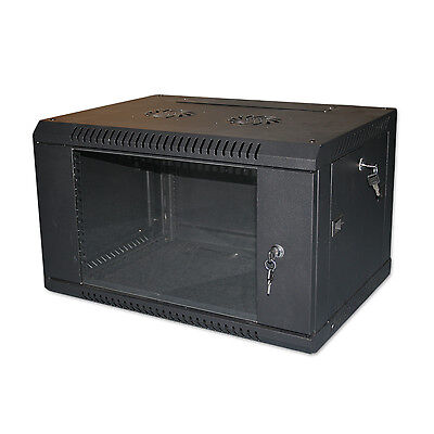 "6U 19"" BLACK NETWORK CABINET DATA COMMS WALL RACK - FLAT PACKED 600x300mm"