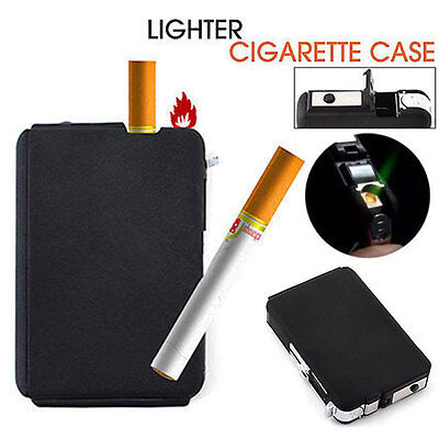 Metal Cigarette Case Lighter Automatic Ejection Butane Gas Windproof Box Holder