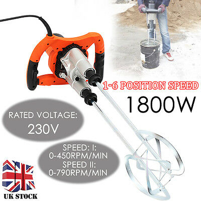 1800W Electric Mixer Plaster Hand Paint Cement Mortar Twin Paddle