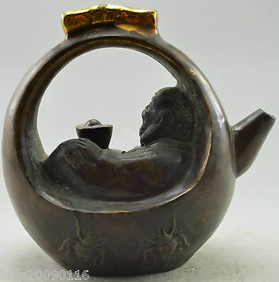 Collectible Decorated Old Handwork Copper Carved Smile Buddha Recline Tea Pot