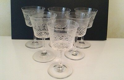 6 Pall Mall Lady Hamilton etched & cut wine sherry glasses 10.5cm x 5.8cm approx