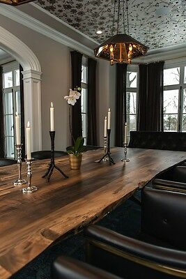 Dining table, Distressed, Solid Walnut live edge waney edge
