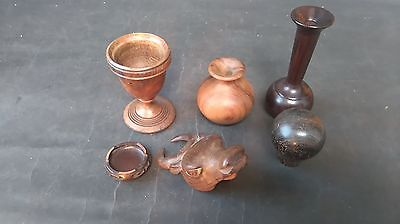 6 Pieces of Various Vintage Treen Pieces as Detailed