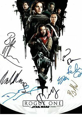 STAR WARS ROGUE ONE CAST SIGNED By 8 Large 16x12 inch Photo AFTAL OnlineCOA
