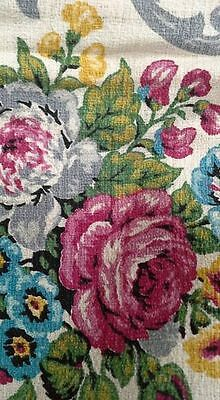 Floral Barkcloth vintage fabric large piece pink blue grey
