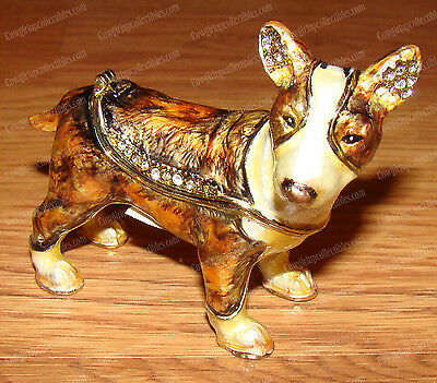 Brindle Bull Terrier Bejeweled Enamel Trinket Box (Pedigree Dog Boxes, 3624)