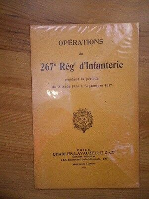 operations historique du 267e regiment d'infanterie 1914-1918