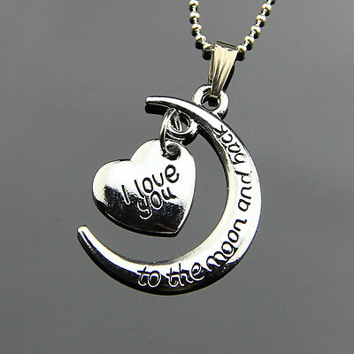 Stainless Steel Lovers Jewelry Moon&Heart Charm Pendant Necklace Chain Accessory