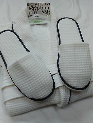Unisex/mens Egyptian Cotton Waffle  Bathrobe & Slippers White Black Trim 4 Sizes