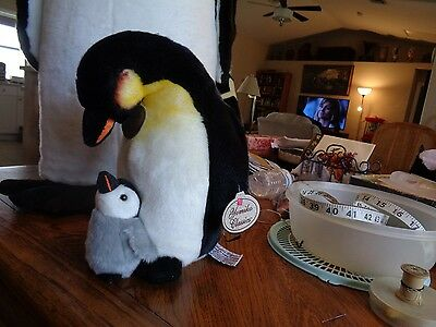 "Russ Berrie Yomiko Classics 12"" Plush Mom And Baby Emperor Penguin NWT"