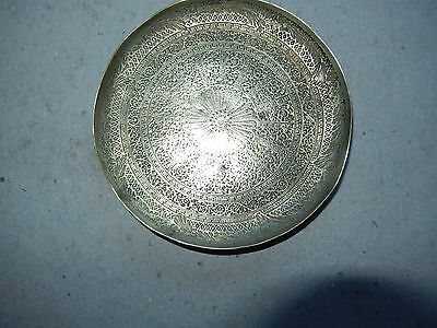 Vintage small round brass trinket tray made by Kinco