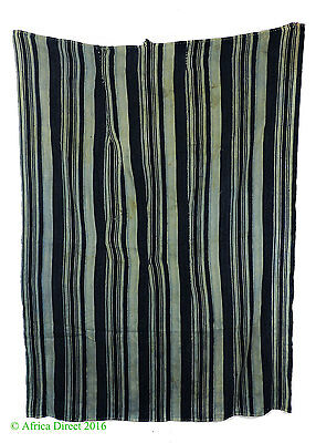 Indigo Textile Handwoven Striped Dyed African Art SALE WAS $79