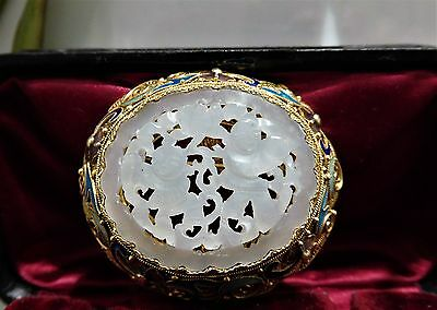 Emaille Jade Brosche, Gold 585 / 14k, Antique Chinese Carved White Jade Brooch