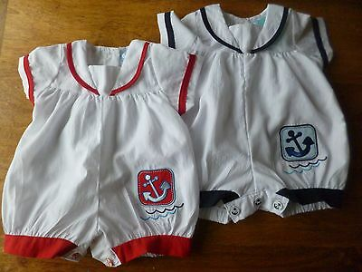 Bnwt Sailor Traditional Style Romper Navy Or Red Trim 0/3,3/6,6/9 Months