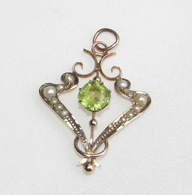 Old antique Edwardian 9ct gold lavalier pendant with peridot gemstone & pearls