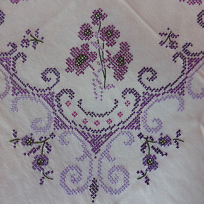 Unused Vintage Hand Embroidered Tablecloth Crochet Lace Edging Cross Stitch