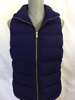 TALBOTS Small S Satin Quilted Down Feather Puffer Vest Navy Blue NEW