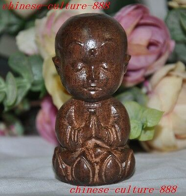 67mm    Chinese Rosewood wood carved sit lotus Blessing Small monk buddha statue