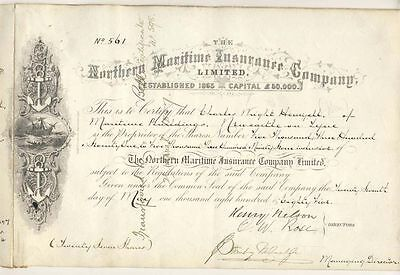Northern Maritime Insurance Company Share Certificate 1885