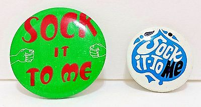 1969 Sock It To Me Pinback Lot of 2 Slogan Pins Green Fists Blue Spade Buttons