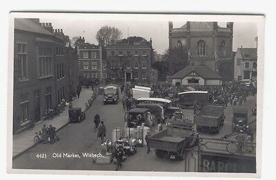 WISBECH  - OLD MARKET - 1930's -  R/P - DETAILED VIEW