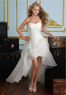 2017 New White/Ivory Front Short Long Wedding Dress Bridal Gown stock Size 6-16