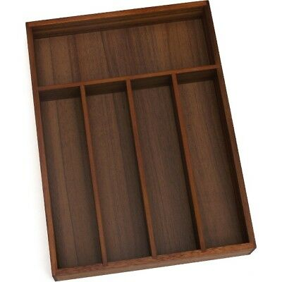 Lipper Acacia Flatware Organizer, Walnut Finish, 5 Compartments 1076WN