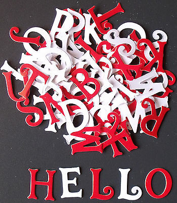 PACK OF Appox. 75 Red and White Glossy LETTERS for CARD MAKING