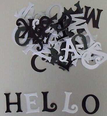 PACK OF Appox. 75 Black and White Glossy LETTERS for CARD MAKING