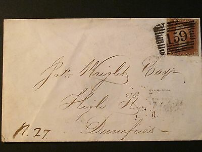 1850 cover Glasgow to Dumfries
