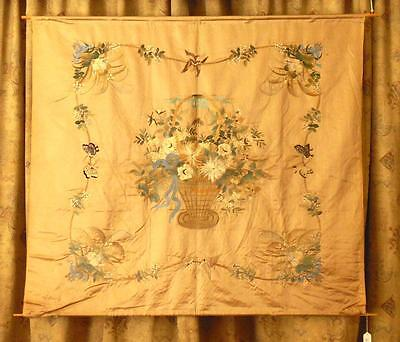 Chinese Hand Embroidered Large Silk Panel . Qing Dynasty, 19th C.