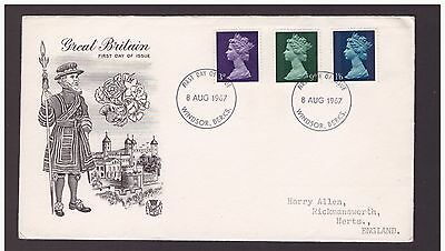 GB Great Britain 1967 Pre-decimal definitives 3d,9d,1s.6d  FDC  cover ,Windsor