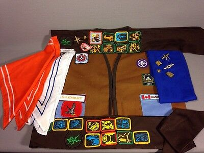 Girl Guides Brownies Scouts Sash And Vest With Patches Badges Pins