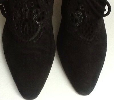 Beautiful French Vintage Farrutx Black Suede shoes - uk 5.