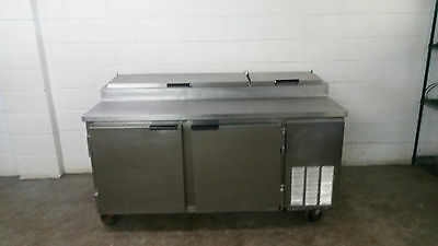 """67"""" Beverage Air Refrigerated Raised Rail Pizza Prep Table 2 Door Tested 115v"""
