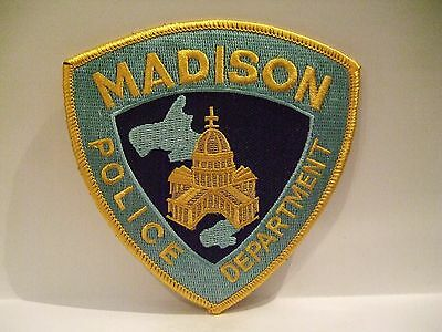 police patch   MADISON POLICE WISCONSIN  YELLOW BORDER