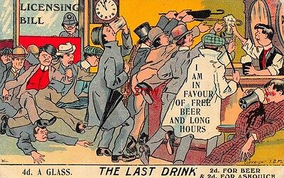 THE LAST DRINK LICENSING BILL 2d FOR BEER & 2d FOR ASKQUITH MEN STORM PUB BAR