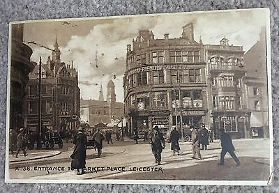 Old Postcard Leicester - Entrance to the Market Place - Posted 1930s